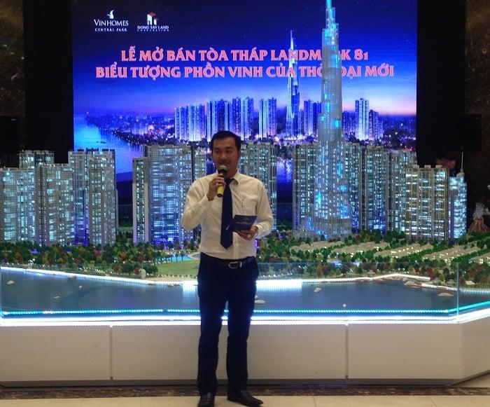 Ông Nguyễn Thái Bình (TGĐ Đông Tây Land) phát biểu tại lễ mở bán toà nhà Landmark 81