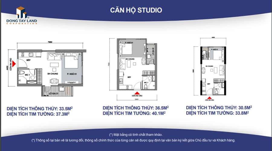 Căn hộ Studio với thiếu kế vô cùng linh hoạt với 3 diện tích từ 33m2 – 40m2