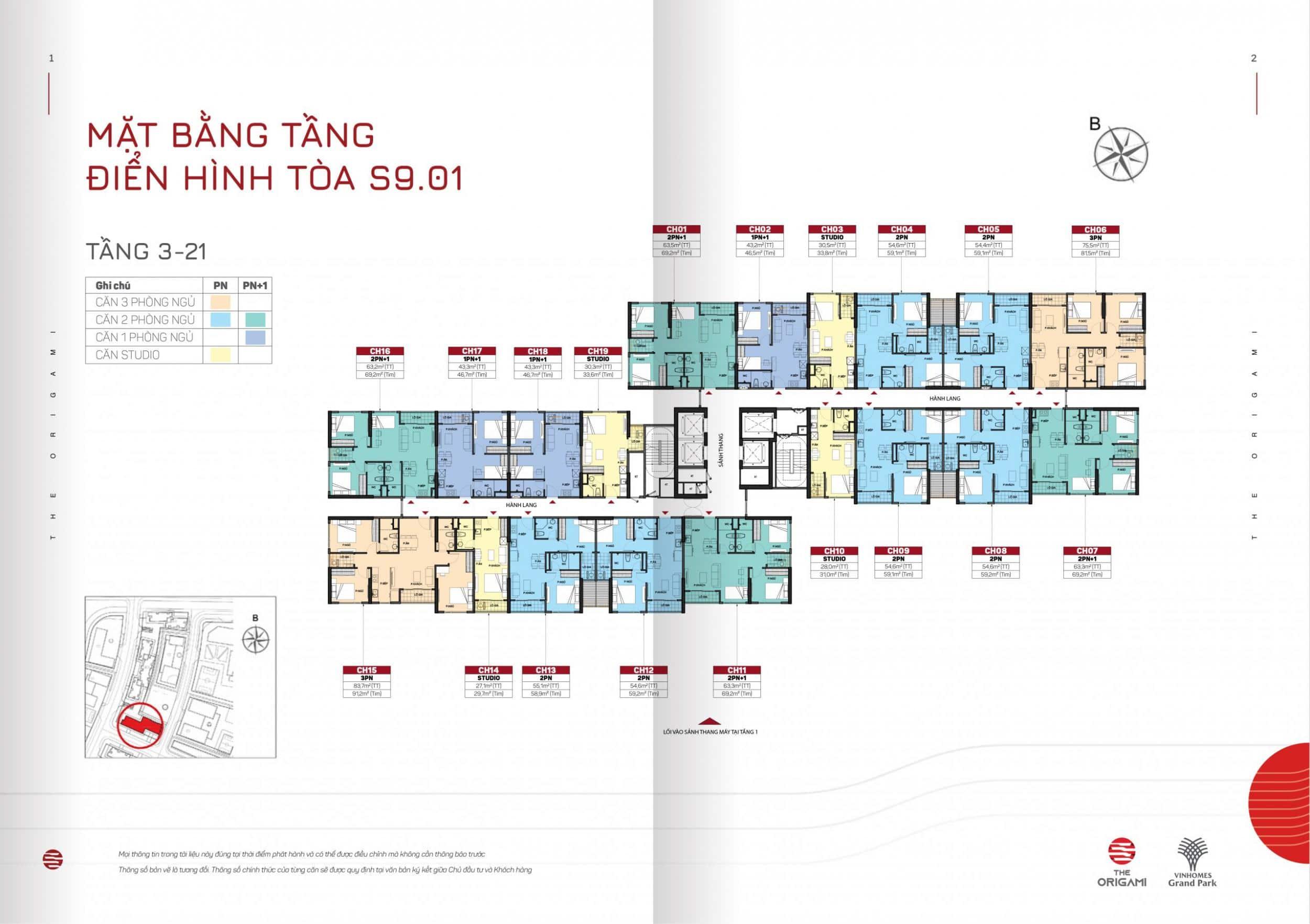 Mặt bằng toà S9-01 phân khu Origami Vinhomes Grand Park S9.01