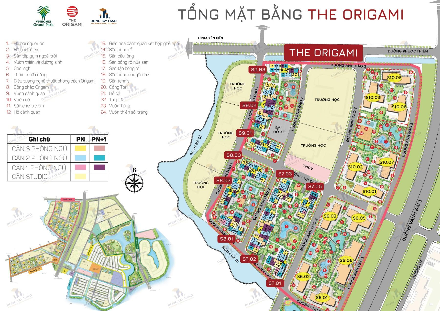Mặt bằng phân khu The Origami final