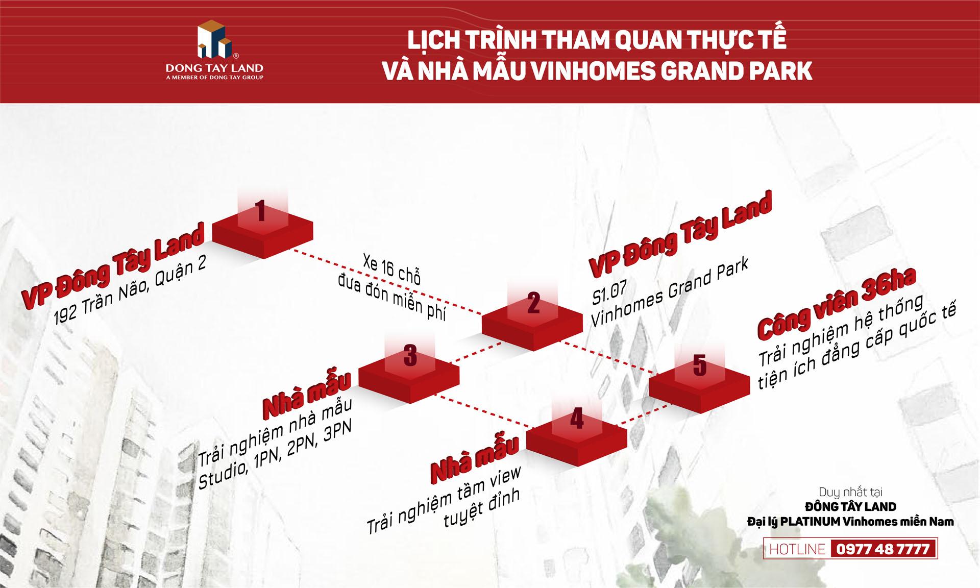 Lịch trình tham quan thực tế và nhà mẫu dự án The Origami - Vinhomes Grand Park
