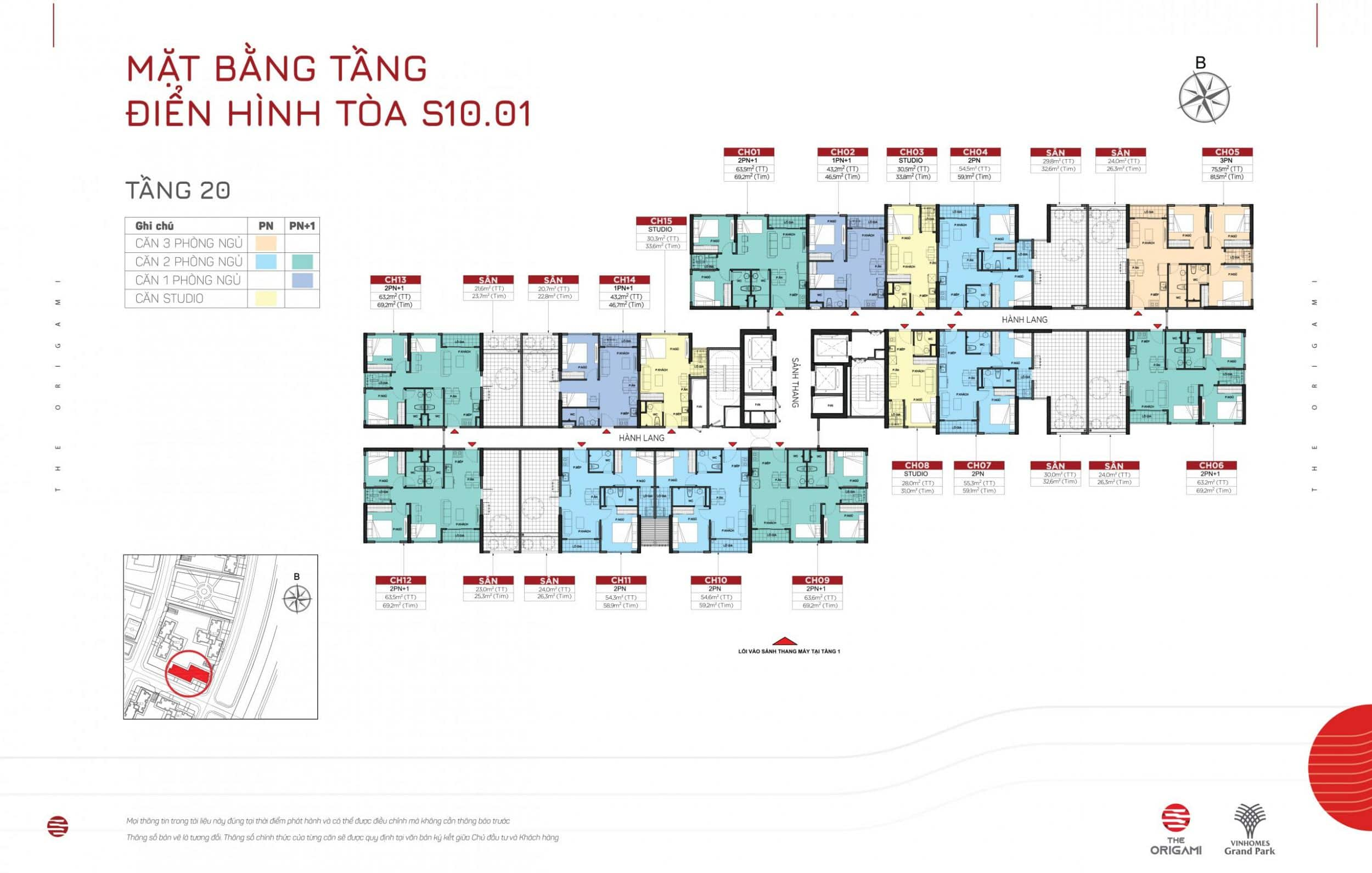 Mặt bằng S10.01 The Origami Vinhomes Grand Park - tầng 20