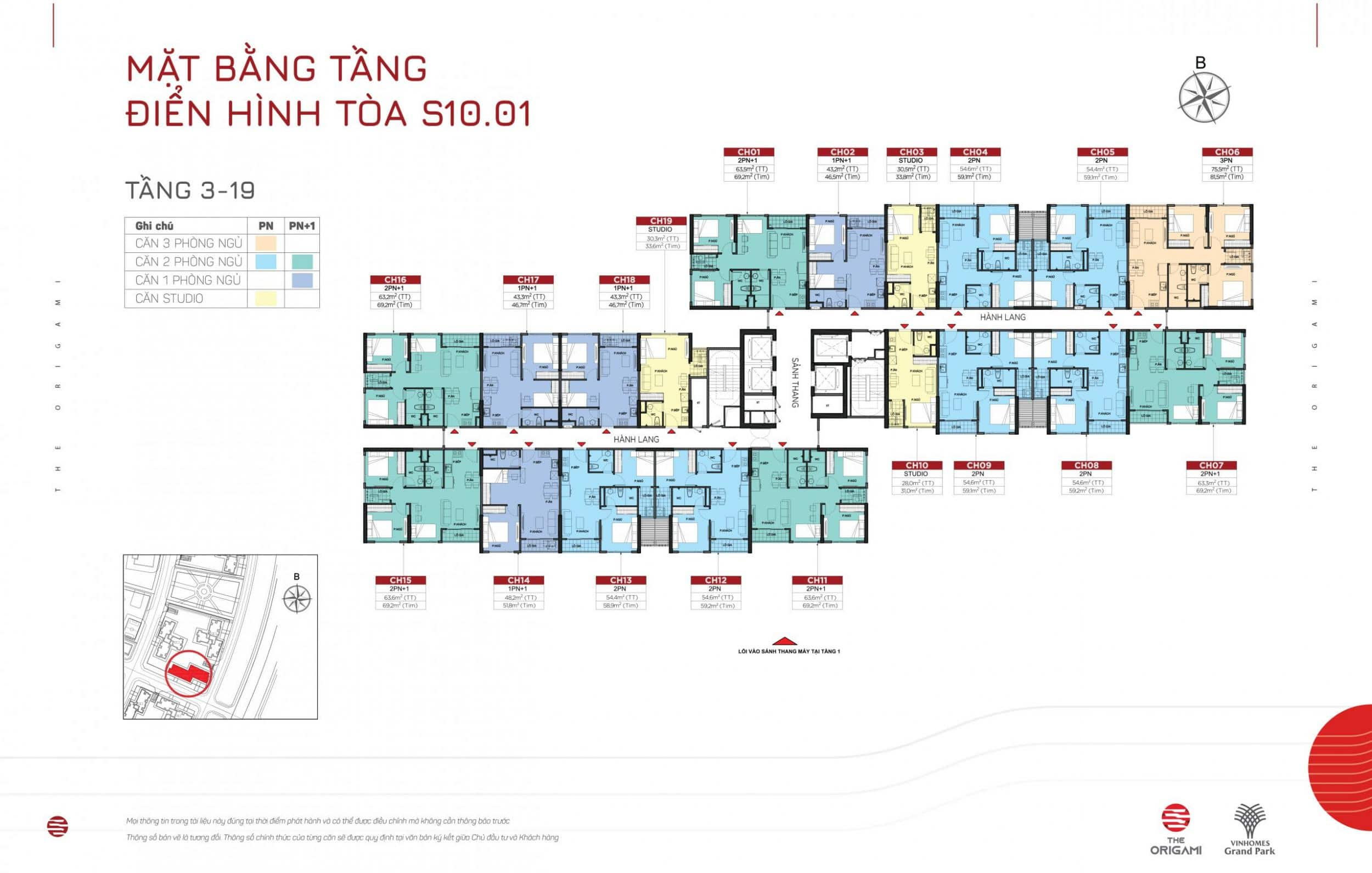 Mặt bằng S10.01 The Origami Vinhomes Grand Park - tầng 3-19