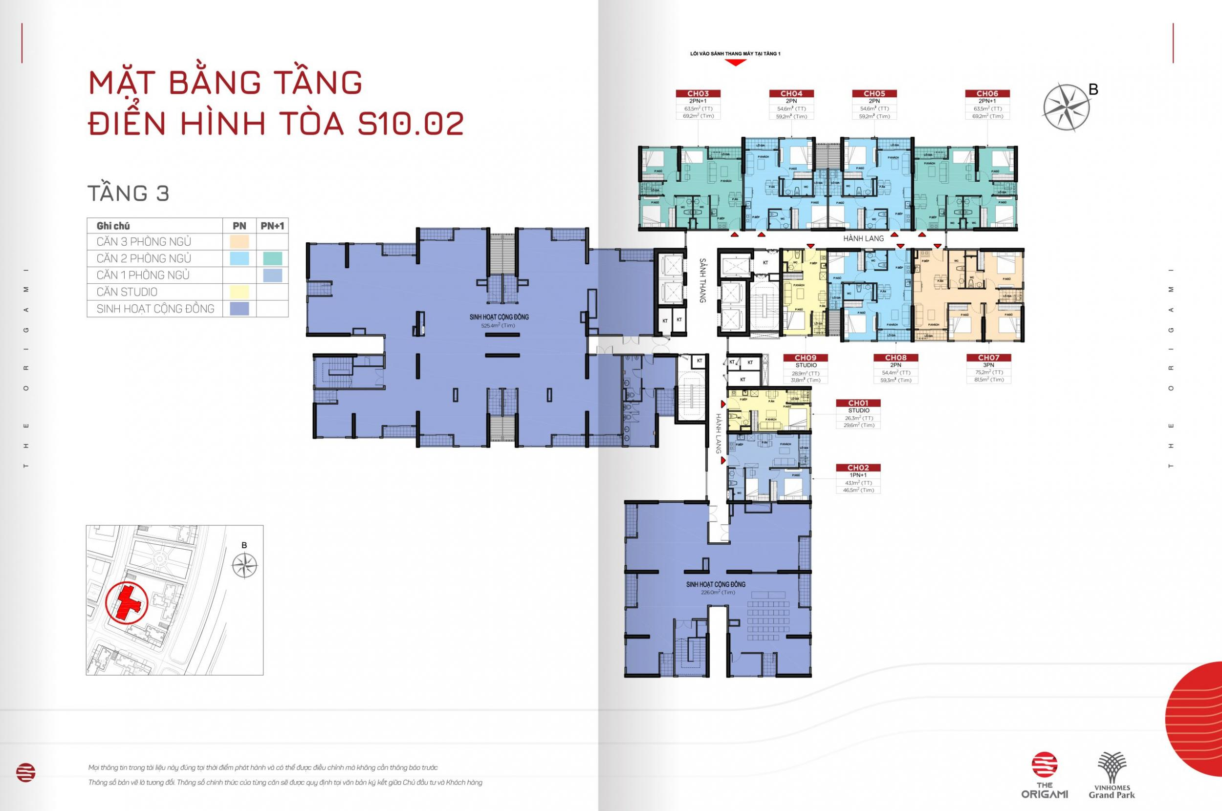 Mặt bằng S10.02 The Origami Vinhomes Grand Park - tầng 3