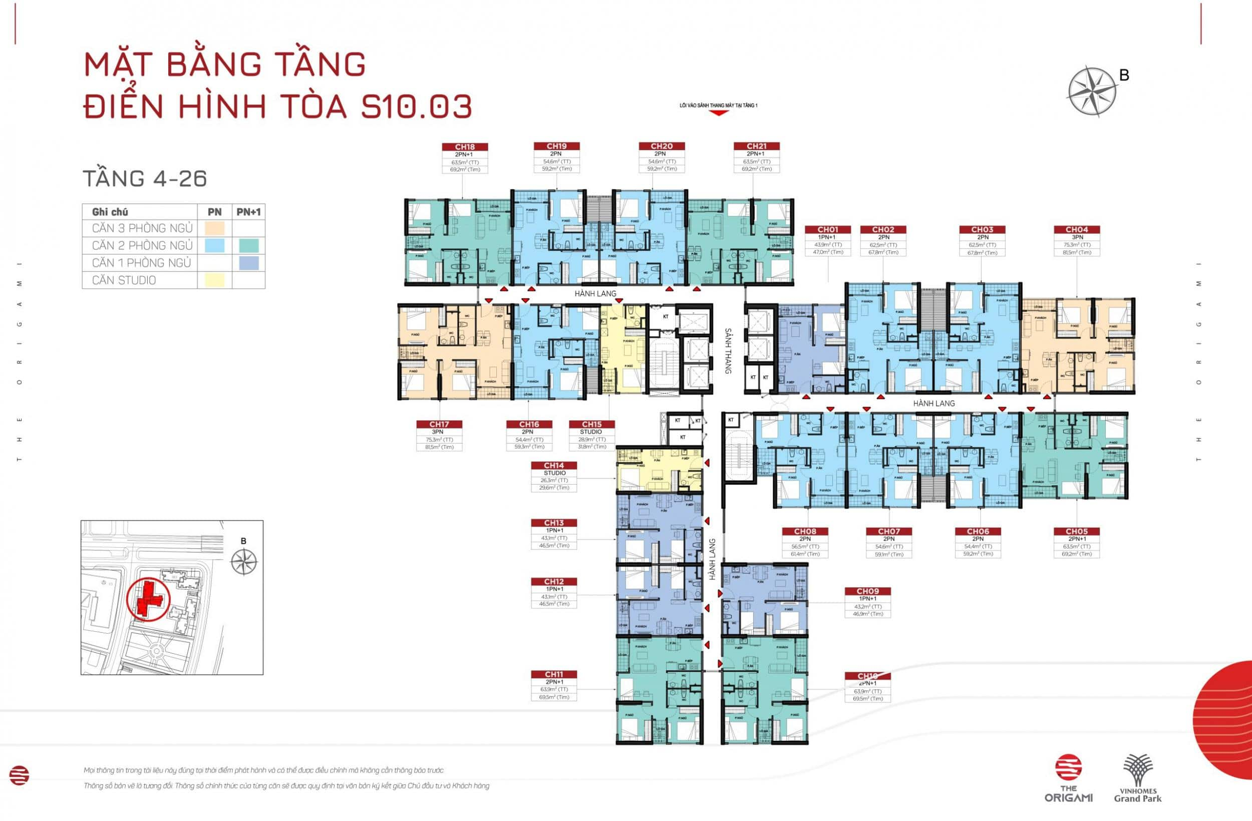 Mặt bằng S10.03 The Origami Vinhomes Grand Park - tầng 4-26
