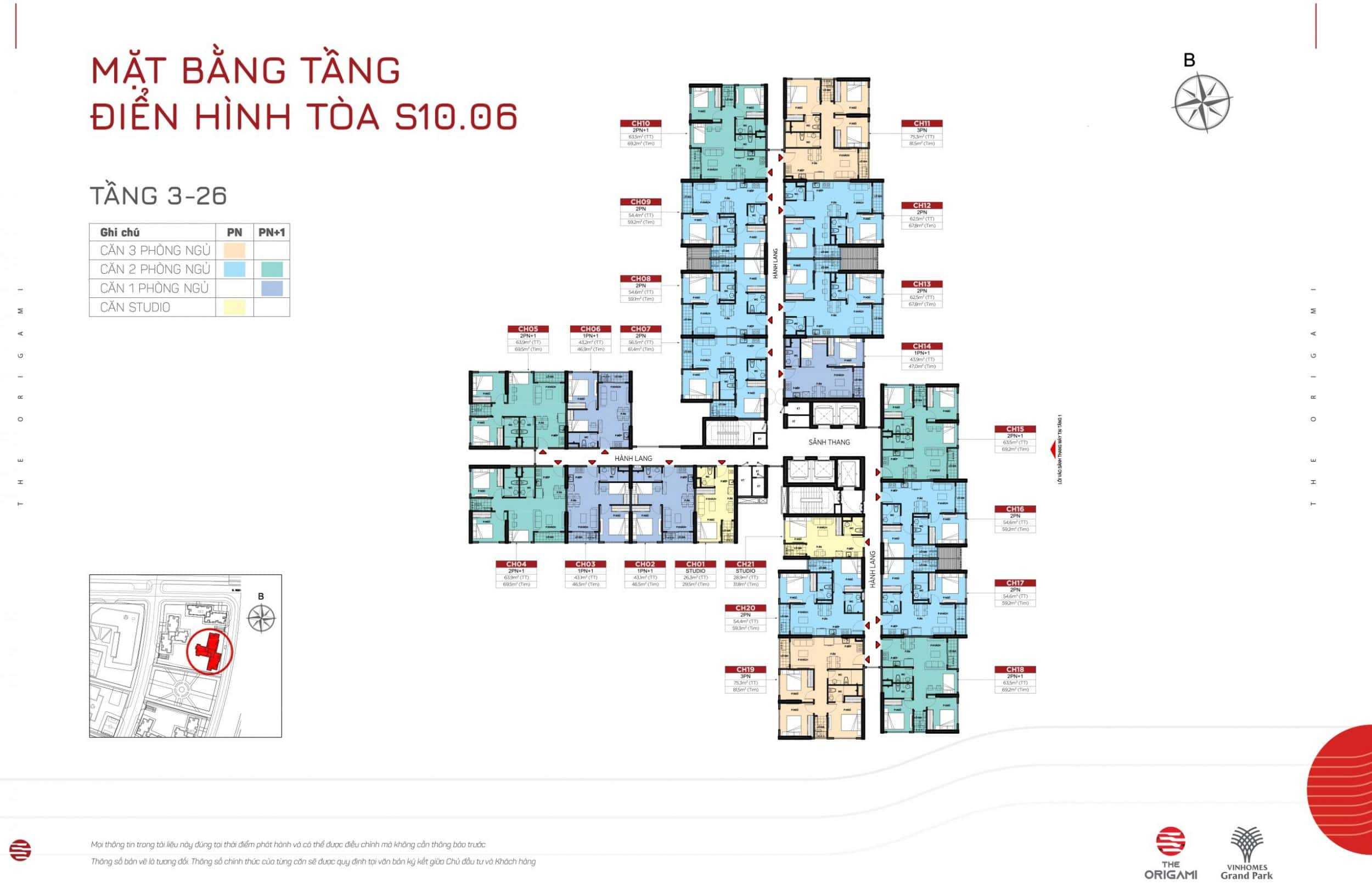Mặt bằng S10.06 The Origami Vinhomes Grand Park - tầng 3-26