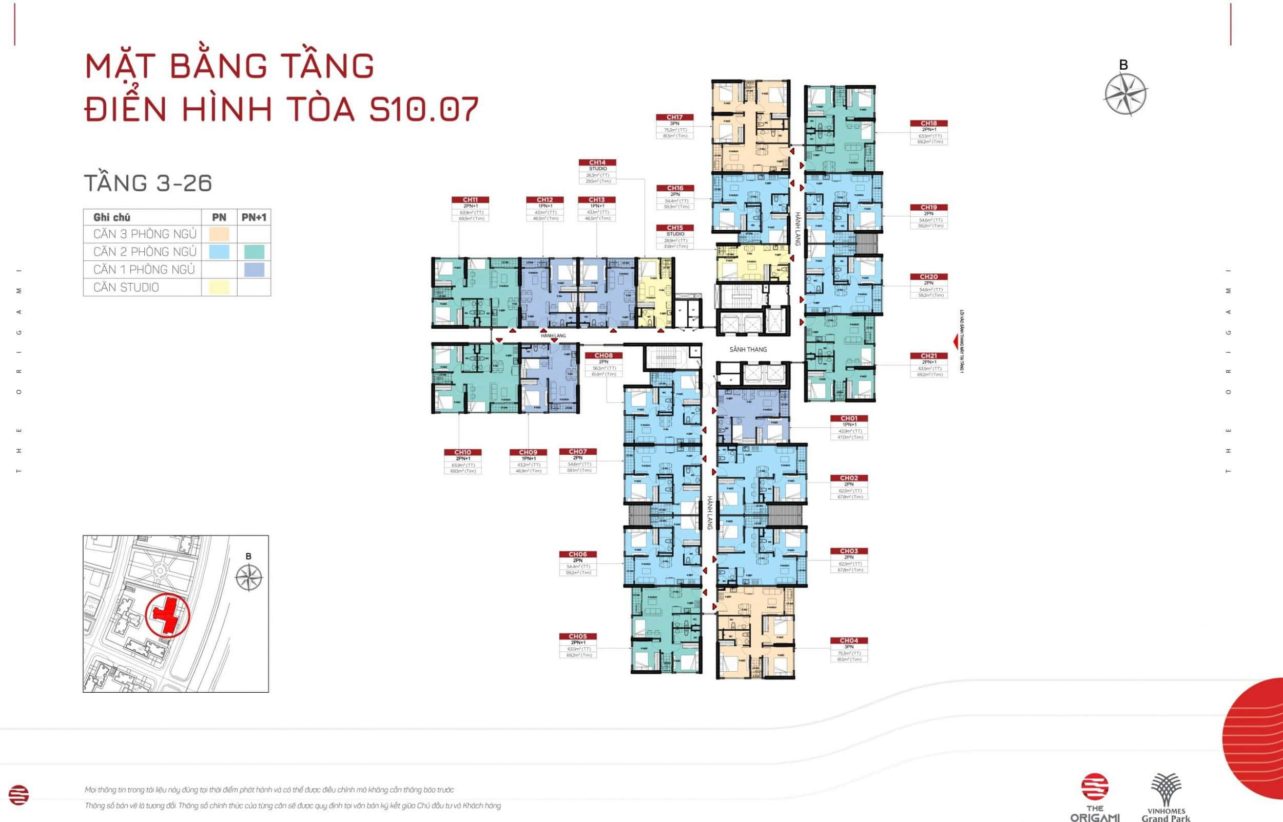 Mặt bằng S10.07 The Origami Vinhomes Grand Park - tầng 3-26