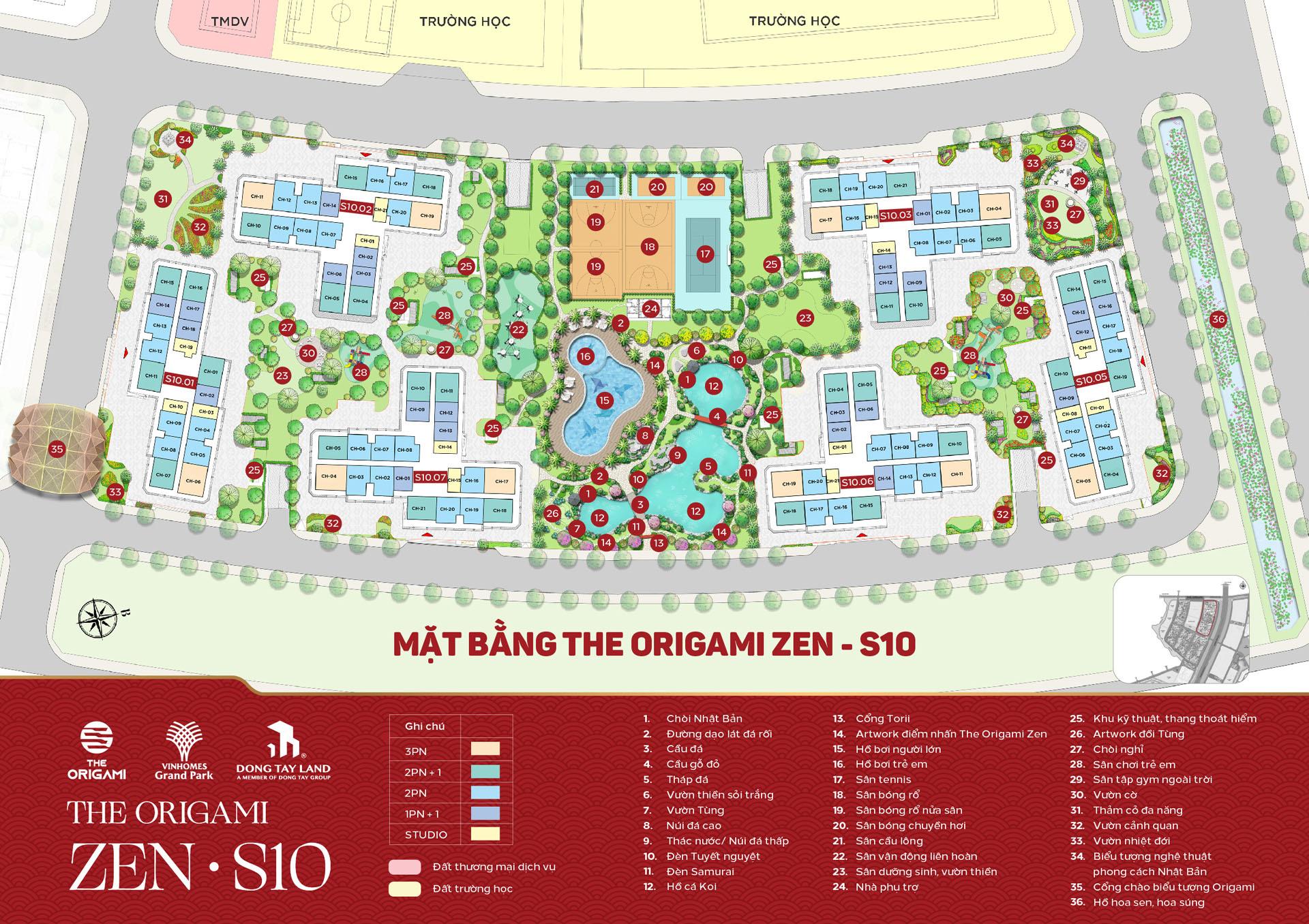 Mặt bằng tiểu khu vườn Nhật S10 The Origami Zen - Vinhomes Grand Park