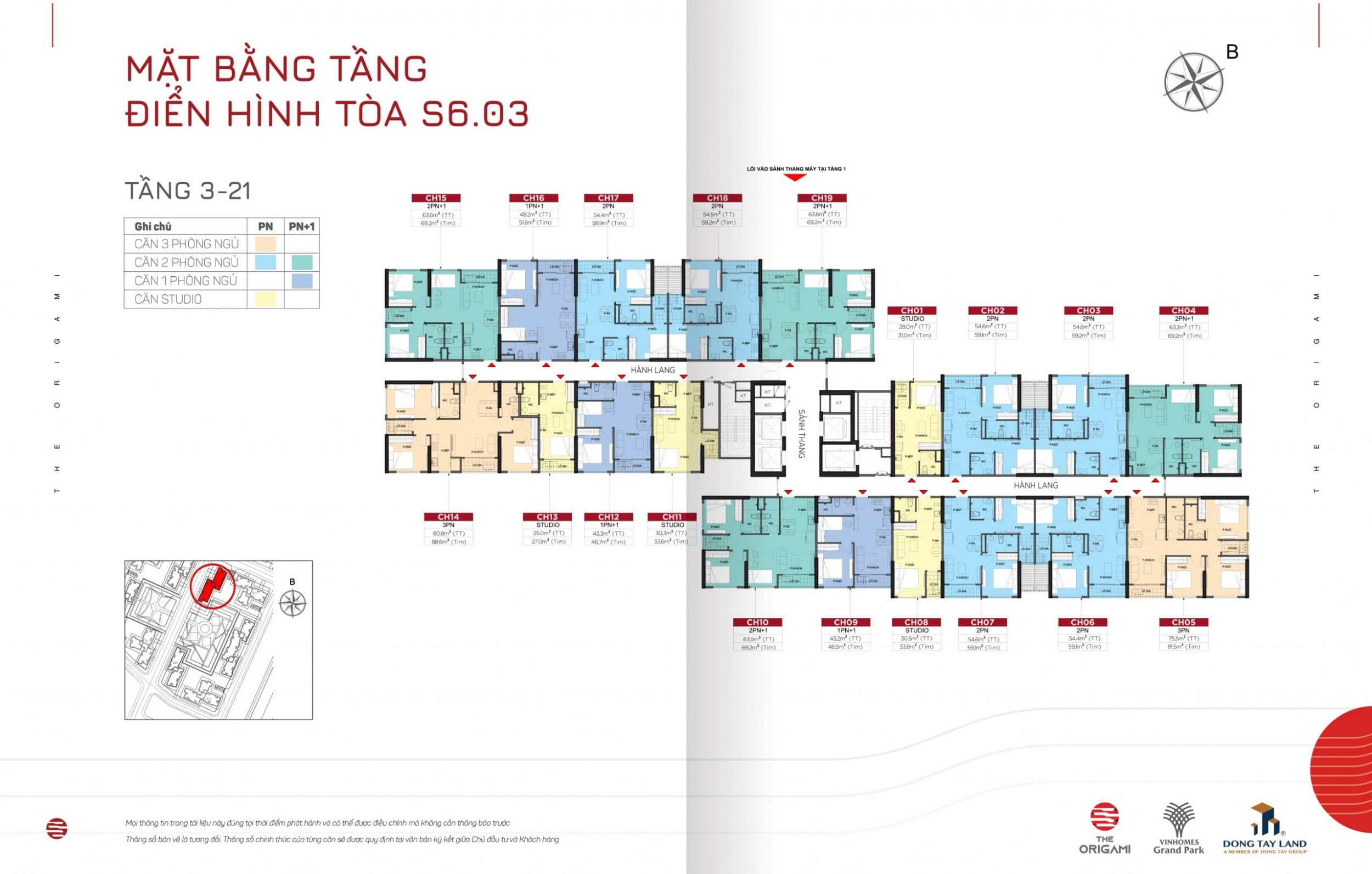 Mặt bằng The Origami toà S6.03-tầng 3-21