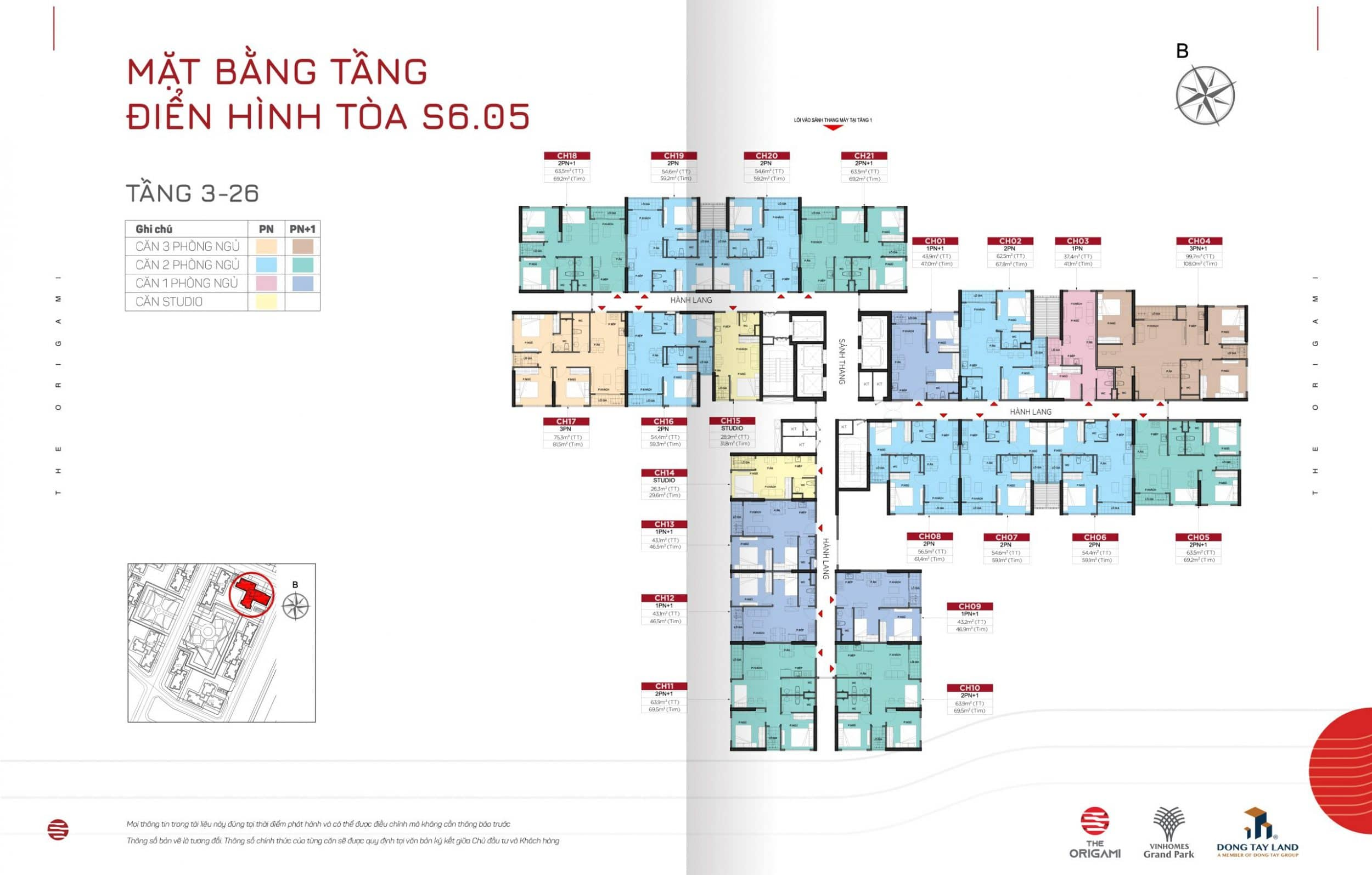 Mặt bằng The Origami toà S6.05-tầng 3-26