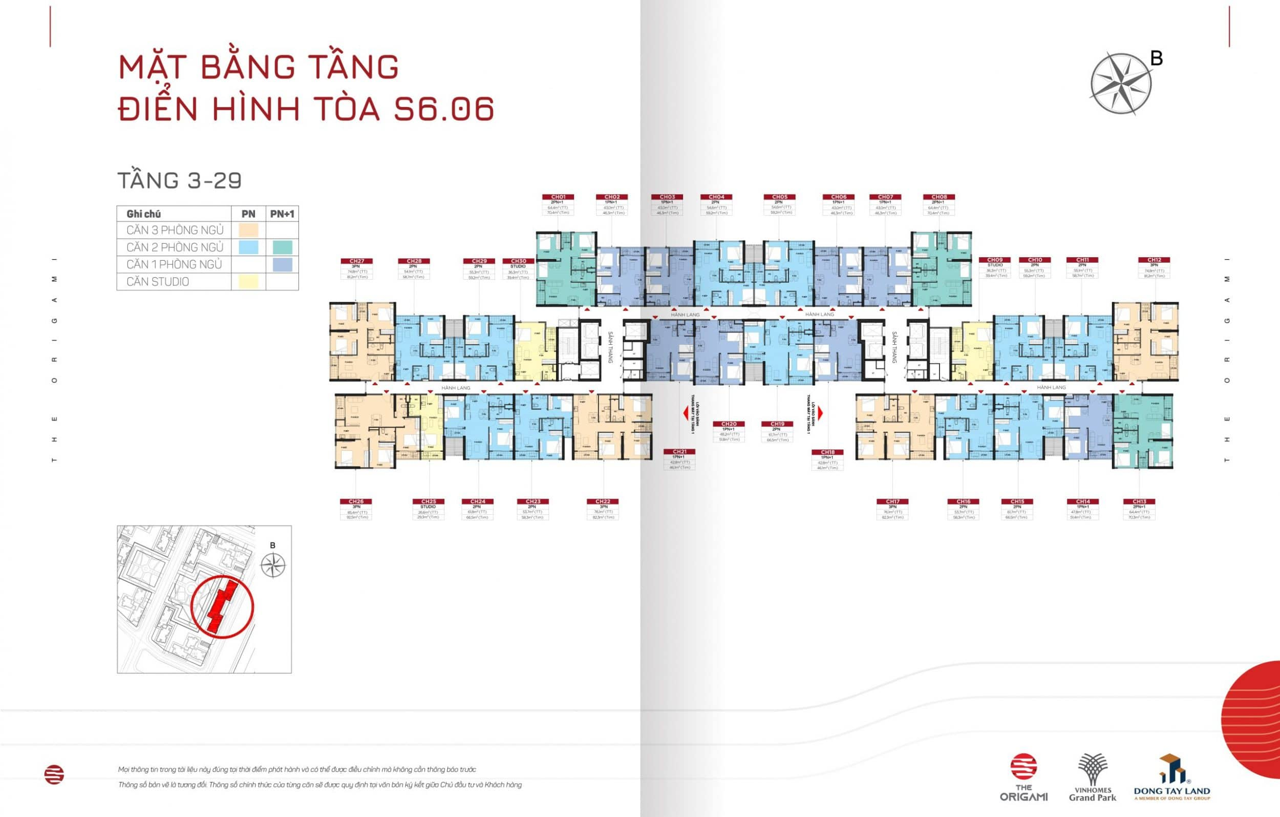 Mặt bằng The Origami toà S6.06-tầng 3-29