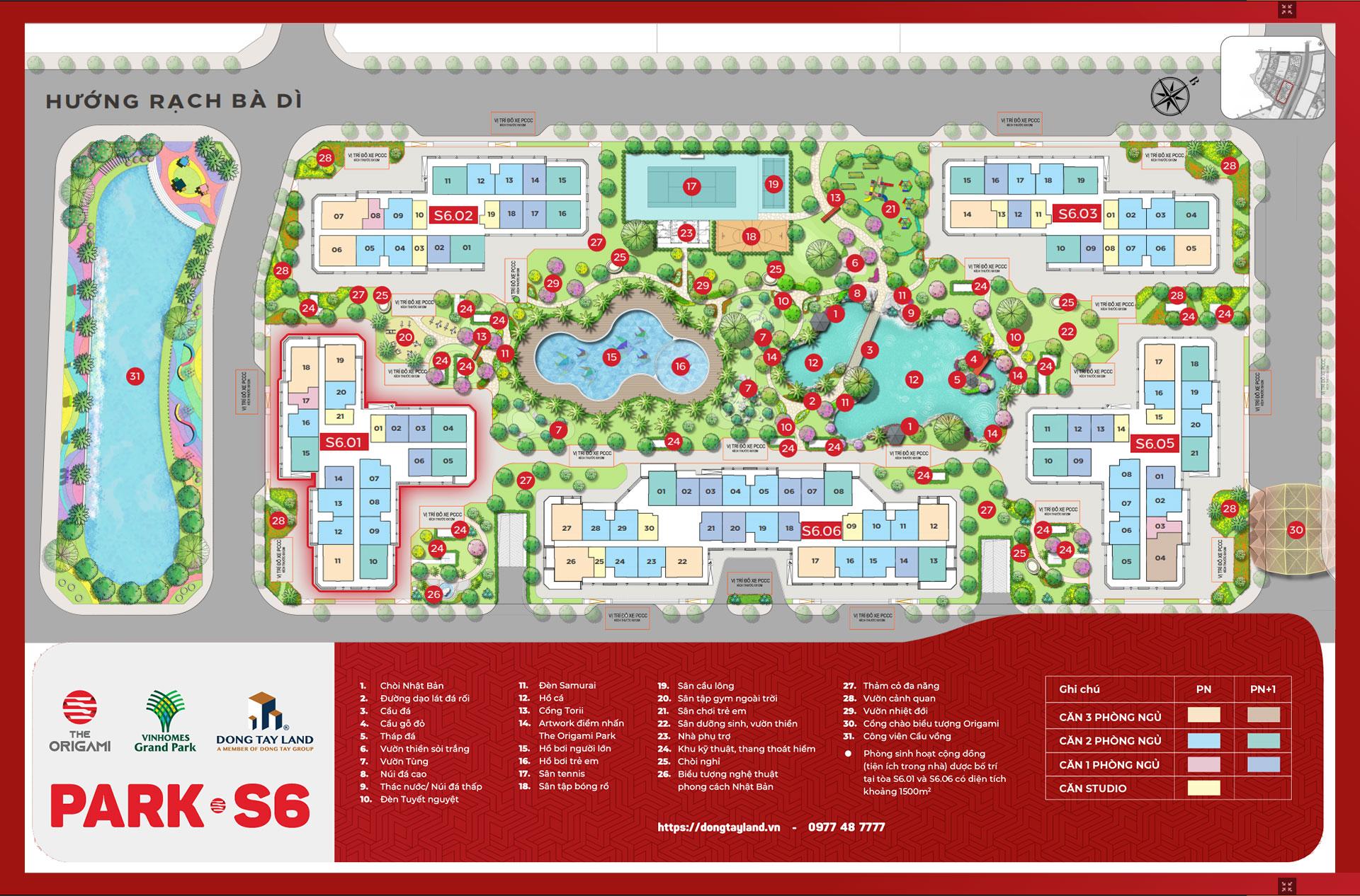 Mặt bằng The Origami Park S6 - Vinhomes Grand Park Quận 9