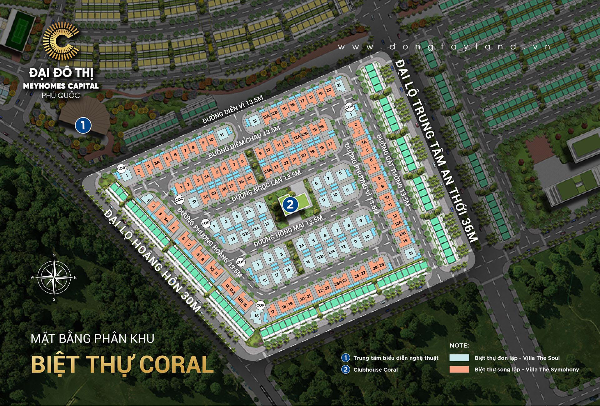 Mặt bằng biệt thự Coral Hawaii - Meyhomes Capital Phú Quốc